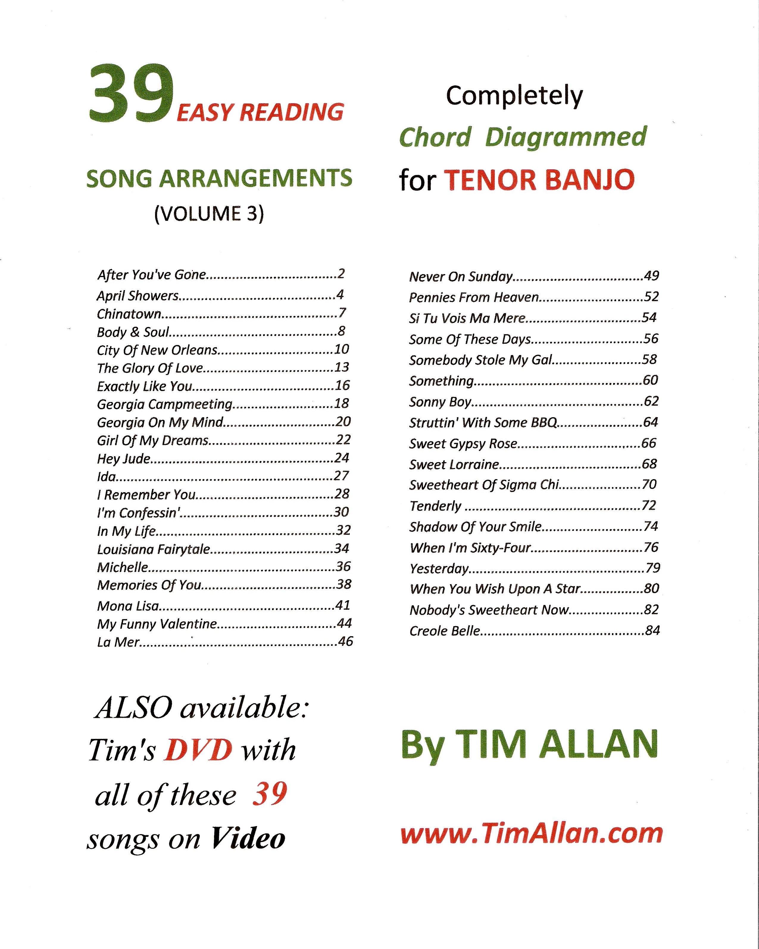 39 Easy Reading Song Arrangements Volume 3 Tim Allan