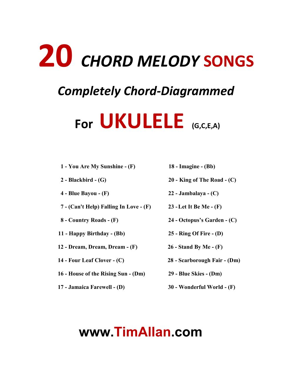 20 chord melody ukulele song arrangements tim allan hexwebz Image collections